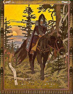 イワン・ビリービン Ivan Bilibin_Билибин うるわしのワシリーサ_Black-rider_vasilisa-the-beautiful