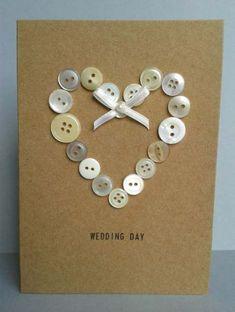 Button Heart Wedding Card Unique Congratulations Mr & by GurdGifts Wedding Cards Handmade, Diy Wedding, Trendy Wedding, Wedding Congratulations Card, Fabric Cards, Button Cards, Engagement Cards, Wedding Anniversary Cards, Heart Cards