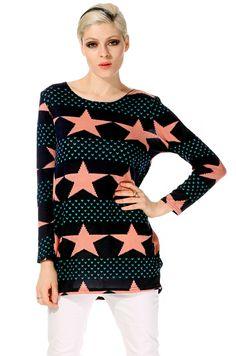 ACEVOG Stylish Lady Women's New Fashion Long Sleeve O-neck Pentagram Print Plus Loose Tops Blouse