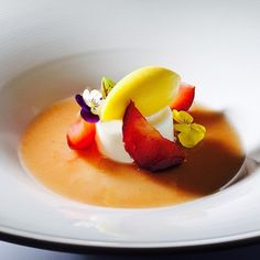 Peach Soup, Almond Mousse, Compressed Plum, Peach Sorbet