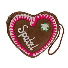Trachtentasche * Dirndltasche pinkes Lebkuchenherz Spatzl (braun)