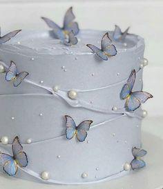Elegant Birthday Cakes, Pretty Birthday Cakes, Pretty Cakes, Birthday Cake For Papa, 21st Birthday Cakes, Butterfly Birthday Cakes, Butterfly Cakes, Strawberry Roll Cake, 21st Cake