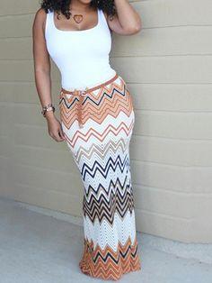 Women's Sexy Wave Stripe Print Sleeveless Cotton Maxi Dress Boho Style Long Dress S/M/L