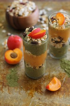 Superfood alert! These Matcha Chia Seed Pudding & Apricot Smoothie Parfaits from @RoastedRoot look amazing and are easily adaptable!