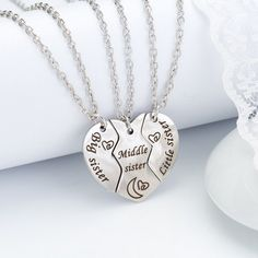 Best Friends Forever Necklace for 3 - Sisters Necklace for 3 - Sister Necklaces For 3, Bff Necklaces, Sister Jewelry, Best Friend Necklaces, Best Friend Jewelry, Pretty Necklaces, Cute Necklace, Metal Necklaces, Pendant Jewelry