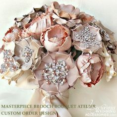 Masterpiece Brooch Bouquet Atelier is our exclusive design studio at your service to create a uniquely custom, exquisite and embellished silk fabri...