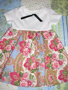 Vintage inspired cotton onesie dress size 9 months by LocalLucy, $12.00