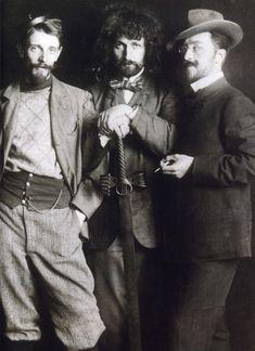Vasily Kandinsky (right), Dmitry Kardovsky (center), A. Seddeler (left) in the Azbe-Schule, Munich, c1897