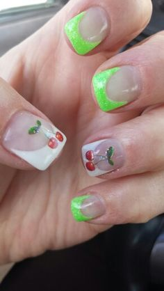 My new nails! Love them! Green and cherry nails. #pray4brynn