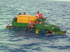 Mariners with imagaination-1959 Chevy truck boat from Cuba- failed attempt to make it to Florida in 2003. Had a propeller attached to the driveshaft & floatation. (Turned away 40 miles off the coast)