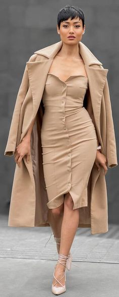 Nude On Nude Chic Outfit by Micah Gianneli