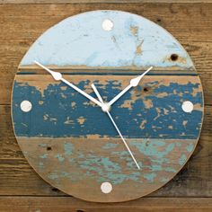 Driftwood Wall Clock Beach Hut Shades of Blue by Reclaimed Time