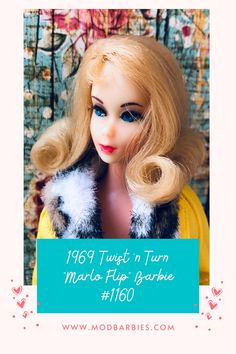 """Twist 'n Turn (TNT) Barbie got a new look in 1969; a new hairstyle, the """"Marlo"""" flip style... a shoulder length flip, inspired by the hit TV show """"That Girl"""" which aired from 1966 to 1971. #TNTBarbie #TwistNTurn #MarloFlip #Barbie New Look, That Look, Vintage Barbie, Shoulder Length, Pretty Hairstyles, Flipping, New Hair, Lips, Inspired"""