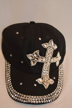 CROSS Jewels Rhinestone Crystal Bling Black Denim Baseball CAP HAT 5153bdb5eea2