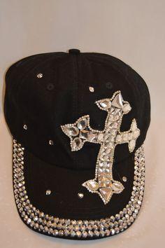 043ba724a22f2 CROSS Jewels Rhinestone Crystal Bling Black Denim Baseball CAP HAT   FashionDesign  BaseballCap  Any