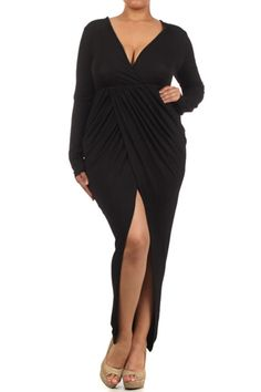 Black Long Sleeve Draped Maxi Dress //