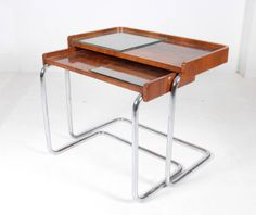 Bauhaus/Thonet/Modernist/Art Deco Tubular Chrome Nesting Tables circa 1930 | From a unique collection of antique and modern nesting tables and stacking tables at http://www.1stdibs.com/furniture/tables/nesting-tables-stacking-tables/