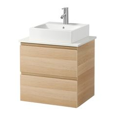 GODMORGON/ALDERN / TÖRNVIKEN Waschbeckenschr+Aufsatzwaschb 45x45 - weiß, Eicheneffekt weiß lasiert - IKEA