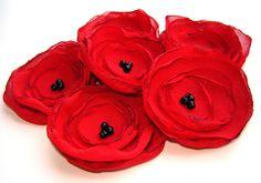 Handmade Red Chiffon Poppy Flower Appliques Sew on Embellishments for Wedding Decor Hair Accessories Corsage (6 pcs). $5.00, via Etsy.