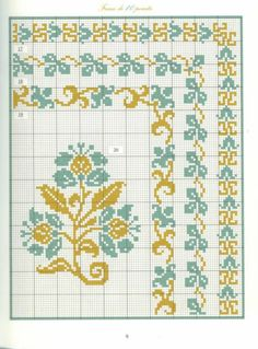 45 a 48 Cross Stitch Geometric, Cross Stitch Borders, Cross Stitch Flowers, Cross Stitch Designs, Cross Stitching, Cross Stitch Embroidery, Embroidery Patterns, Cross Stitch Patterns, Seed Bead Patterns