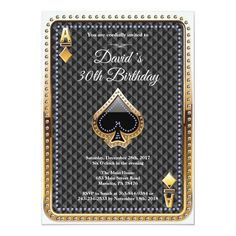 Shop Poker Playing Card Casino Birthday Invitation created by Happyappleshop. Glitter Invitations, Custom Invitations, Birthday Invitations, Birthday Cards, Gala Invitation, Invite, Casino Theme Parties, Casino Party, Party Themes