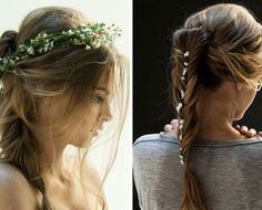 Hunger Games Wedding: Hair and Accessories  Of course, we've got to mention the hair. Katniss wears her hair in a side braid and it's her signature style which comes in especially handy for quick bow and arrow drawing! We think a side braid or even ponytail, done intricately would be divine for a wedding day look. We love the added flower details for a hippie chic look.