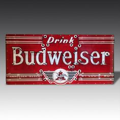 This stunning Budweiser sign dates from the and is extremely rare, principally because the logo incorporates a winged motif Vintage Neon Signs, Retro Poster, Garage Signs, Beer Signs, Game Room, Games, Man Cave, Inspiration