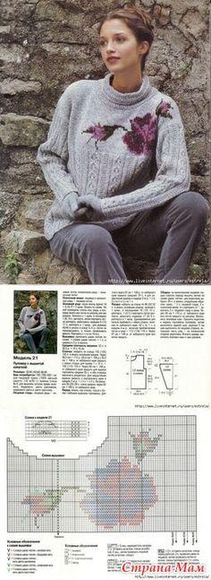 Пуловеры с цветами - Жаккард - Страна Мам