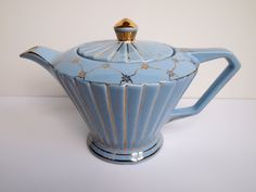 Light Blue SADLER Teapot with Ruppled Sides and Gold by DesignIK