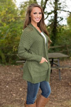 I Run To You Cardigan Olive - The Pink Lily