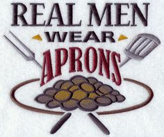 Real Men Wear Aprons Funny Embroidered BBQ Apron Father's Day Gift, Birthday Gift, Host Gift