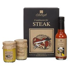 Buy Edinburgh Preserves Condiments For Steak Gift Set, 323g online at John Lewis Preserves, Steak, Edinburgh, John Lewis, Whiskey Bottle, Hair Pins, Fathers, Dads, Preserve