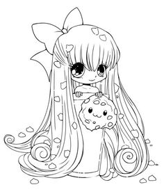girl cokies chibi drawinganime catanime peoplecoloring pages doodlekawaiiscreenpainting - Coloring Pages Anime Couples Chibi