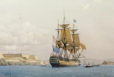 Derek George Montague Gardner (British, 1914-2007) The H.M.S. Royal Sovereign off of Fort Manoel, Valletta, Malta
