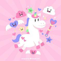 Bonito unicornio blanco con simpáticos elementos Vector Gratis