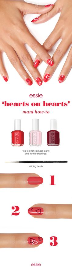 Paint the town fabulous this Valentine's Day with a red and pink manicure you'll heart as much as we do. Get this look: First apply two coats of 'too too hot' and let dry. With a striping brush dipped in 'fishnet stockings', paint the outline of a heart (start drawing a 'v' followed by two curves). Repeat drawing hearts with 'romper room' and overlap the hearts. Lock in the hearts with an essie top coat to make sure you seal in a kiss on Valentine's Day.