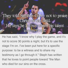 NBA champ Stephen Curry giving glory to Christ!!