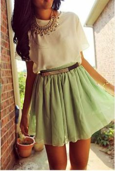 We love this stylish outfit & green skirt for our St. Patrick's Day look