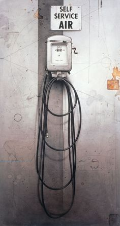 Cesar Galicia: Self Service Air, 1992 Técnica mixta sobre tabla, 158 x 84 cm