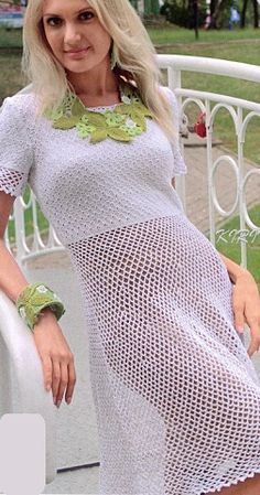 """Dress connected crochet № 1.5, 2 and 2.5, and spoke of the number 2 450 g of white yarn """"Vita-Cotton-Orion"""" (77% mercerized cotton, 23% viscose, 50 g / 170 m). Size 42-44. description and diagram of knitting dress"""