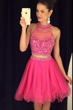 c55f3df590e Lovely Ball Halter Two Piece Short Hot Pink Tulle Beaded Prom Dress