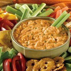 Buffalo Chicken Dip is perfect for game day! | http://www.rachaelraymag.com/recipe/buffalo-chicken-dip/