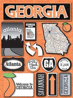 Reminisce 3-D Multi-Layered Stickers GEORGIA scrapbooking PEACH STATE