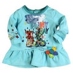 5a215bf83 Vestido bebé Bóboli azul cian con print dedicado al otoño para que el  cambio de estación sea mas alegre que nunca. 100% algodón.
