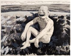 Yue Minjun: The Grassland Series Screenprint 1 (Sitting Man Laughing), 2008 Cynical Realism, Yue Minjun, Sculptures For Sale, Figure Drawing, Contemporary Artists, Caricature, Screen Printing, Original Artwork, Fine Art Prints