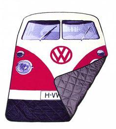 VW Red Bus Picnic Rug & Blanket
