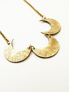 Bib Necklace Brass Statement Jewelry Crescent Moons