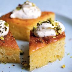 Semolina cakes soaked in syrup are called revani in Turkish cuisine. Revani recipes have been recognizable in Ottoman cookbooks since the 18th century. The difference between revani and yogurt dessert is whether eggs are used. In yogurt dessert, eggs are substituted with yogurt.
