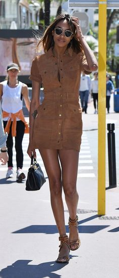 Casual summer outfit ideas inspired by celebrity looks: Jourdan Dunn wears a brown suede dress that can easily go from day to night.