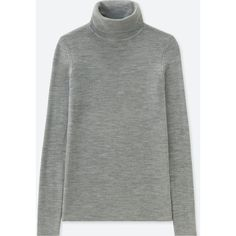 UNIQLO Women's Extra Fine Merino Ribbed Turtleneck Sweater ($20) ❤ liked on Polyvore featuring tops, sweaters, grey, turtle neck sweater, gray turtleneck, turtleneck sweater, grey ribbed turtleneck and gray turtleneck sweaters